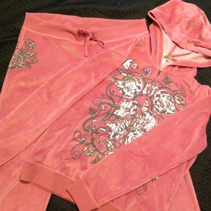 Other - Pink velvet looking track suit